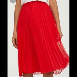 H&M Bright Red pleated midi skirt
